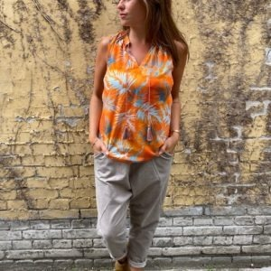 Emily Van Den Bergh Orange Top Med Print