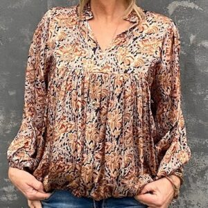 Eva Go Diva Courtney Blouse Block Print Beige
